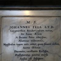 John Fell's monument on the south wall of the Cathedral Ante Chapel