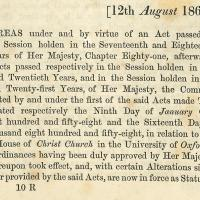 Close-up detail of text from the opening paragraph of the 1867 Christ Church Oxford Act