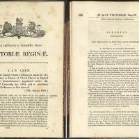 Double page spread, showing the opening paragraphs of the 1867 Christ Church Oxford Act