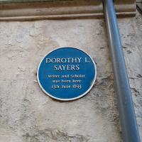 Sayers' blue plaque in Brewer Street