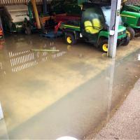 Water level in the gardener's machinery barn.