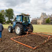 Chain harrow to level off any lumps before sowing. (Photo © Catriona Bass)