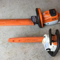 Stihl hedge trimmer and compact chainsaw