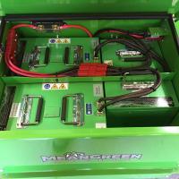 The three lithium batteries that power the machine.