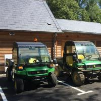The two Gator utility vehicles together.