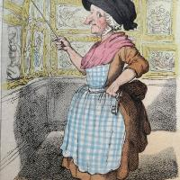 """Thomas Rowlandson (1757-1827), after John Nixon (1760-1818): """"Mrs Showwell. The Woman who shews General Guise collection of Pictures at Oxford"""". Etching with hand-colouring, published 26 Feb., 1807, by Rowlandson."""