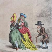 "James Gillray (1756 - 1815): ""A Corner, near the Bank; _ or _ An Example for Fathers"". Etching with hand-colouring, published 26 September, 1797, by Hannah Humphrey."