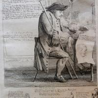 "Paul Sandby (1725 - 1809): ""The Vertù Scavenger & Duper …"" (A portrait of the art dealer 'Dr' Robert Bragge). Etching, 1757."