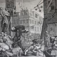 "William Hogarth: ""Beer Street.; and Gin Lane"". Etching and engraving, 1751, by William Hogarth."