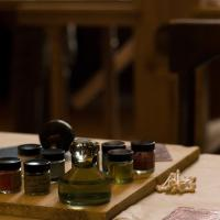 Set of bottled pigments to ink the printing press with.