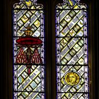 Stained glass window in the Great Hall, depicting Lewis Carroll