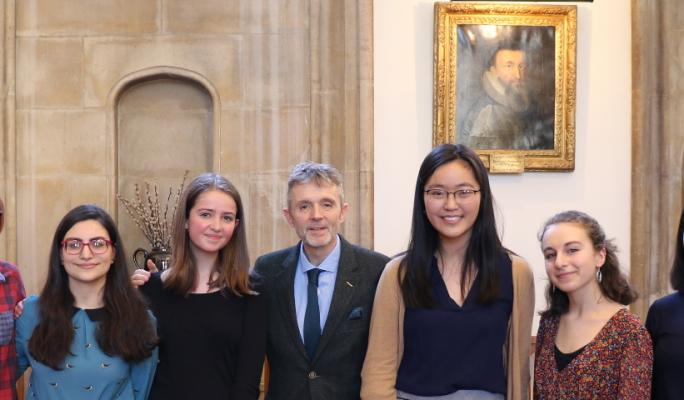 Tower Poetry winners with the Dean