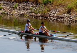 Naomi and Amanda rowing at the European Universities Games