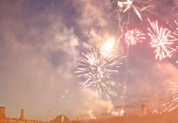 Fireworks over Tom Quad