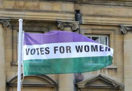 Suffrage Flag in Peckwater Quad