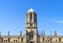 A view of Tom Tower from Tom Quad