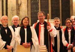 From left, the Revd Canon Jeff West, Darren Oliver (Deputy Diocesan Registrar), the Revd Canon John Rees, The Revd Canon Kevin Davies, the Revd Canon Emma Percy, the Rt Revd Dr Steven Croft, the Bishop of Oxford, the Very Revd Professor Martyn Percy, the Dean of Christ Church Oxford, the Rt Revd Helen Ann Hartley, the Bishop of Waikato in New Zealand, Canon Richard Fisher, CEO of BRF, Canon Sarah Meyrick and the Revd Canon Dr Ralph Waller.