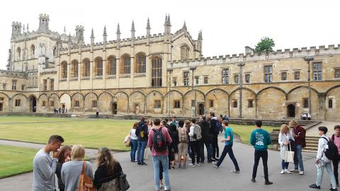 Open Day visitors in Tom Quad