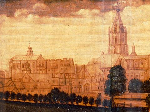 Detail from Sampson Strong's portrait of Wolsey showing Christ Church