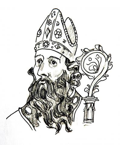 Illustration of St Augustine of Hippo by Jim Godfrey