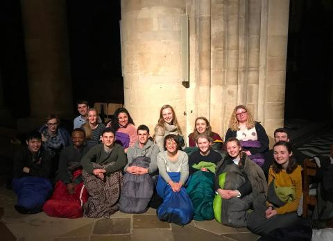 Volunteers ready for a night in the Cathedral