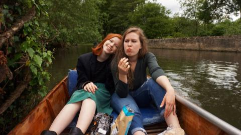 Photograph of friends in a punt by Annika Schlemm
