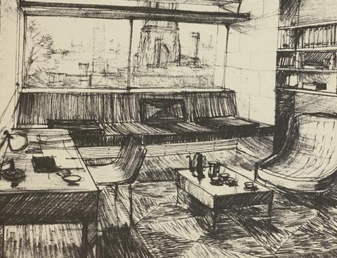 Detail of a sketch for room interior, Blue Boar Quad, Powell & Moya