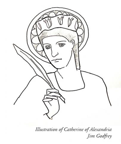 Illustration of St Catherine of Alexandria by Jim Godfrey