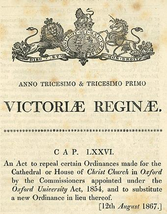 Detail from the cover of the Christ Church Oxford Act of 1867
