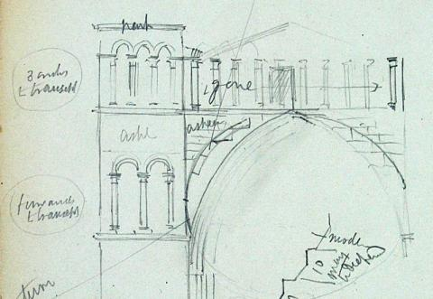 Detail of a George Gilbert Scott sketch of the east end of the Cathedral