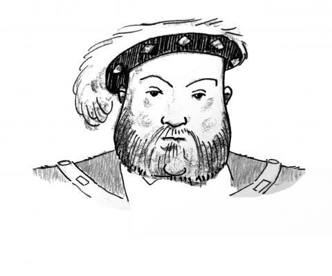 Illustration of Henry VIII by Jim Godfrey
