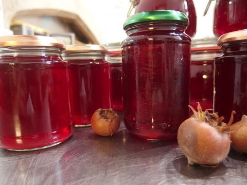 Medlar jelly stored in jars