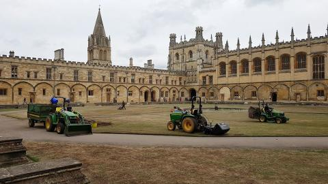 The gardens team at work in Tom Quad