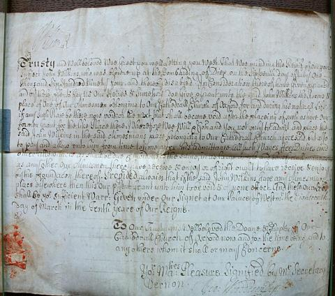 Detail from Patent granting John Wilkins a place in the almshouse, Christ Church archives lxi.a.6