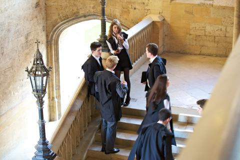 Students on the Hall stairs
