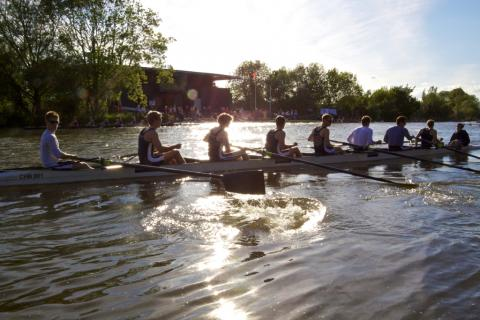 A rowing crew on the river
