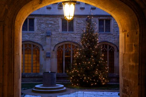 View of the Cloister with Christmas Tree