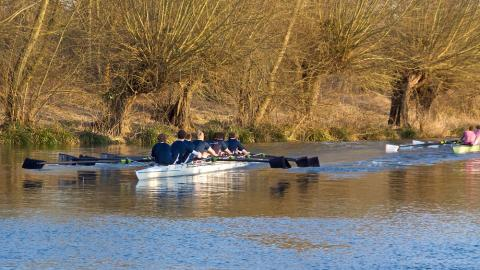 A crew rowing in Torpids