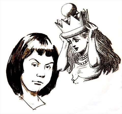 Pen Portrait of Alice Liddell and Alice from Wonderland by Jim Godfrey