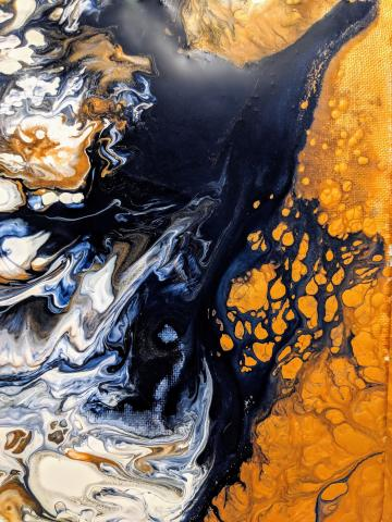 Black and gold abstract painting