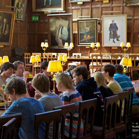 Students eating in Hall