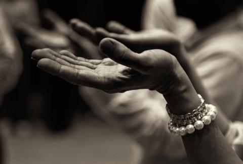 Hands held open in supplication