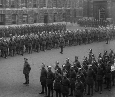Troops on parade in Peckwater Quad during the First World War
